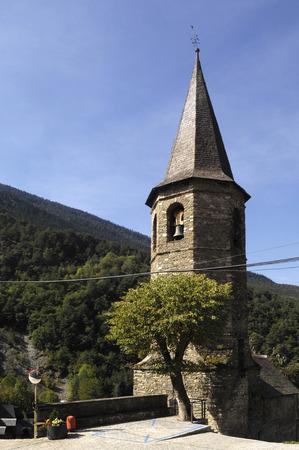 aran: Church of village Aubert, Aran Valley, Lleida province, pyrenees mountain, Spain Stock Photo