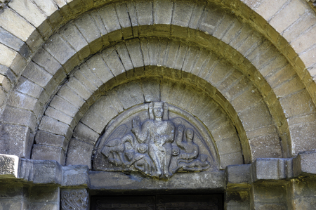 felix: Detail Romanesque door of Sant Felix,Vilac,Aran Valley, Lleida, Spain Stock Photo