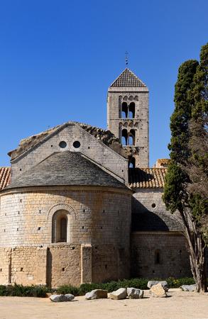 alt: Romanesque monastery of Santa Maria de Vilabertran,  Alt Emporda, Girona province, Spain Stock Photo