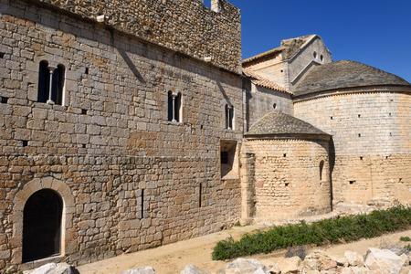 alt: Apse and Gothic facade of the monastery of Vilabertran, Alt Emporda, Girona province, Spain