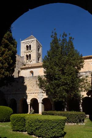 alt: Romanesque monastery of Santa Maria de Vilabertran, (from cloister)  Alt Emporda, Girona province, Spain