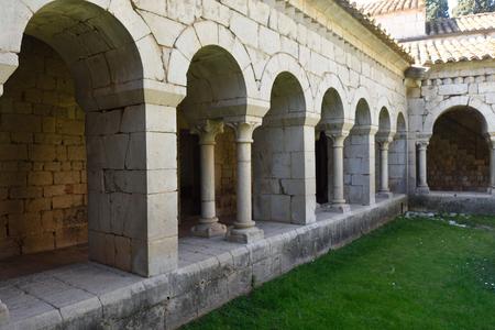 alt: Romanesque cloister of the Monastery of Santa Maria de Vilabertran, Alt Emporda, Girona province, Spain