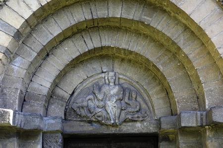 aran: Detail Romanesque door of Sant Felix,Vilac,Aran Valley, Lleida, Spain Stock Photo