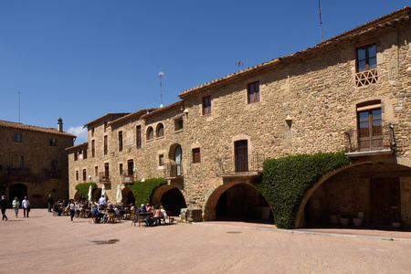 town square: Town square of Monells,Baix Emporda, Girona, province, Catalonia,Spain Editorial