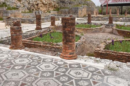 ancient geometric: Geometric mosaic, Roman ruins of the ancient city of Conimbriga, Beiras region, Portugal