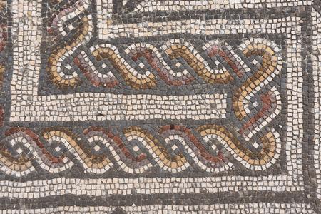 ancient geometric: Geometric mosaic of the roman ruins of the ancient city of Conimbriga, Beiras region, Portugal