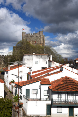 os: Castle and houses in the fortress of Braganca, Tras os Montes,Portugal