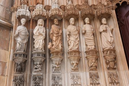 vitoria: Detail of Sculptures main entrance of the Monastery of Santa Maria Vitoria in Batalha, Centro region, Portugal Stock Photo