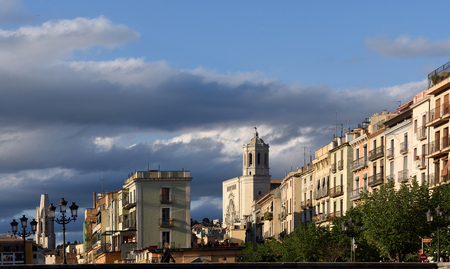 Church of Sant Feliu and Cathedral from the  square of Catalonia, Girona ,Catalonia,Spain Editorial