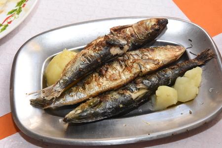 potato tree: Sardines grilled Stock Photo