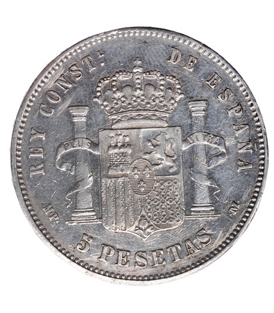 duro: Reverse of coin of  Alfonso XIII, five ,pesetas, un duro, 1888,Spain,