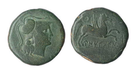 legend: Iberian As of  Ampurias Century II B.C Front: Head Palas Reverse: Pegasus and Iberian legend Stock Photo