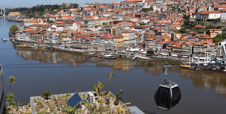 oporto: Cable car and Oporto, Portugal