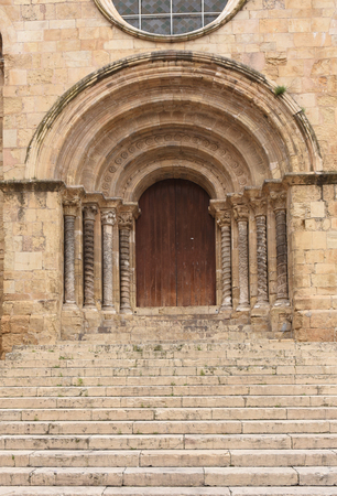 gateway: Gateway of Romanesque church of Santiago, XII-XIII centuries. Coimbra, Portugal
