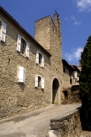 midi: Walls and door, Saint Lizier, Midi Pyrenees, Ariege, France, Stock Photo