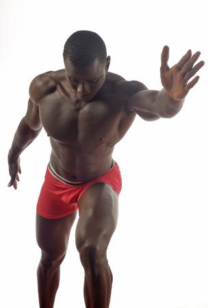 nipple man: male torso isolated on white