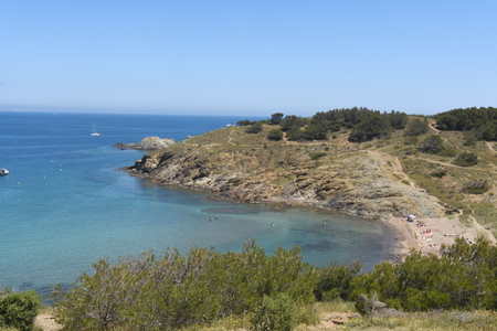 ras: Beach of de Ras cape in Colera, Costa Brava, Girona province, Catalonia, Spain Stock Photo