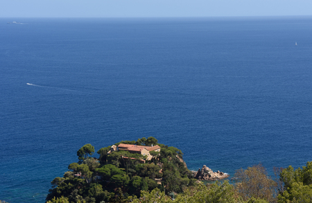 elevated view: elevated view of the Convent of  Blanes, Costa Brava,Girona province,Catalonia,Spain