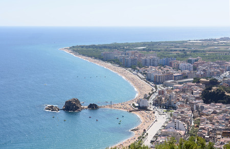 elevated view: elevated view of the seaside town of Blanes, Costa Brava, Girona province, Catalonia, Spain