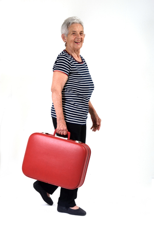 casua: Old lady goes on vacation Stock Photo