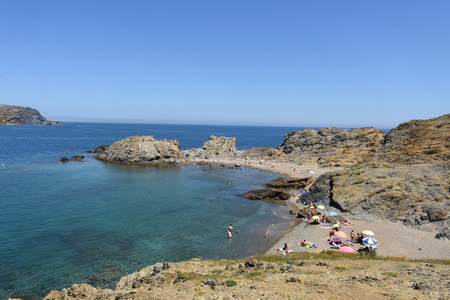 ras: Beach of Ras cape in Colera, Costa Brava, Girona province, Catalonia, Spain