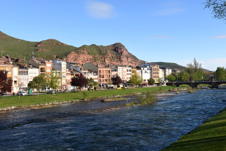 rioja: Najerilla River passing through the town of Najera,La Rioja,Spain