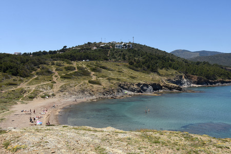 ras: Beach of de Ras cape in Colera, Costa Brava, Girona province, Catalonia, Spain Editorial
