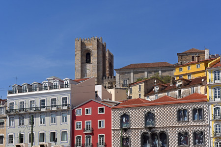 Colorful houses and cathedral in Lisbon, Portugal