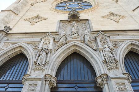 buiding: New facade of Santa Maria church of Portbou, Girona province, Catalonia,Spain