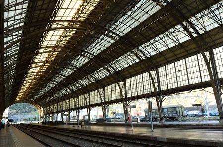 goods train: Train station of  Portbou, iron  architecture Girona province,Catalonia,Spain