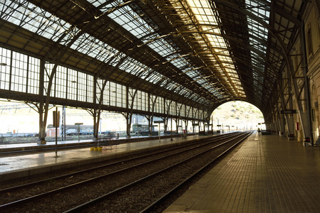 goods train: train station of Portbou, Girona province,Catalonia,Spain