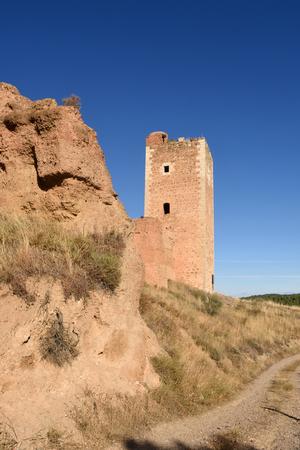 zaragoza: San Cristobal tower in the town walls of Daroca (XIV century) . Zaragoza province, Aragon, Spain Stock Photo