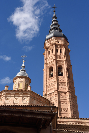 collegiate: Collegiate church of Santa Maria la Mayor, Calatayud. Zaragoza province, Aragon Stock Photo