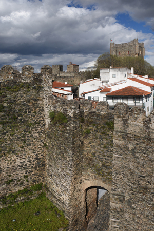 Walls and Castle and houses in the fortress of Braganca,Tras os Montes,Portugal