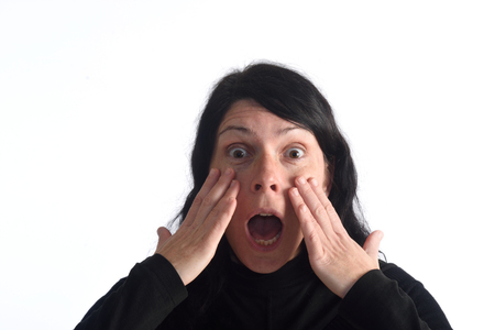 age 35 40 years: surprised woman