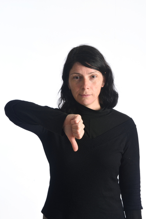 woman with thumb down