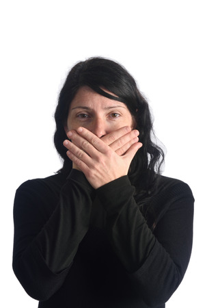 age 35 40 years: A woman with her mouth covered Stock Photo