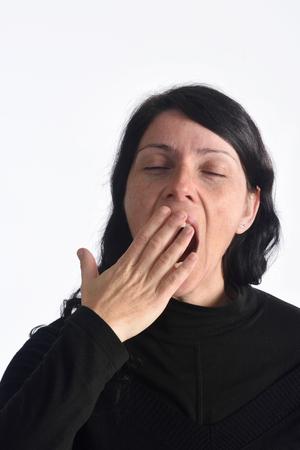 35 years old man: Woman yawning,