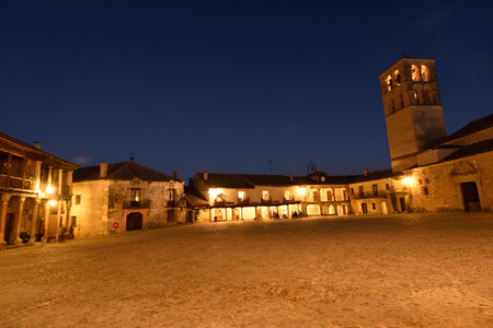 castile leon: Main square of Pedraza, Segovia province, Castilla y Leon, Spain Stock Photo