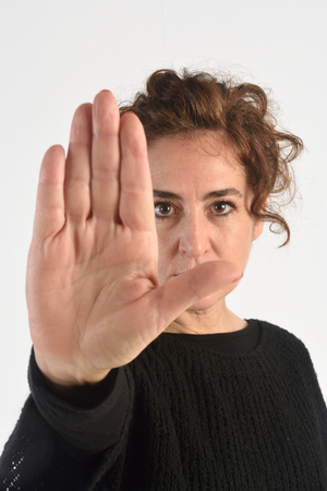 Woman With Her hand stop doing Stock Photo