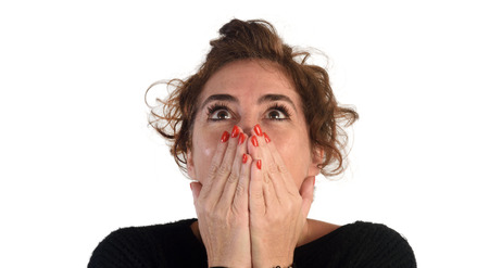 expressive: Woman with expressive face Stock Photo