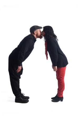 Couple kissing with white fonfo Stock Photo