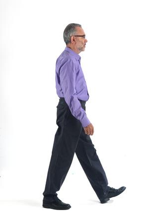 Man walking on white background