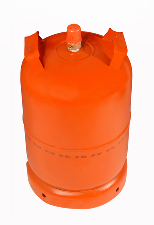 butane: Orange bottele gas Stock Photo