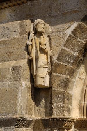 サンティアゴ巡礼者彫刻、サンタマルタのロマネスク教会・ ド ・ テラ XI 世紀、経由・ デ ・ ラ ・ プラタ、カスティーリャイレオン、スペインの 写真素材