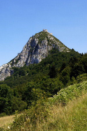 Castle of  Montsegur,Cathar country, Ariege, Midi Pyrenees, France