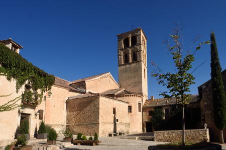 Church of San Juan Bautista in Pedraza, walled medieval village declarated Historical-Artistic Site Segovia province Castilla y Leon Spain Editorial