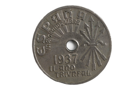25 cents: Coin of Spain , 25 cents, 1937, Francisco Franco