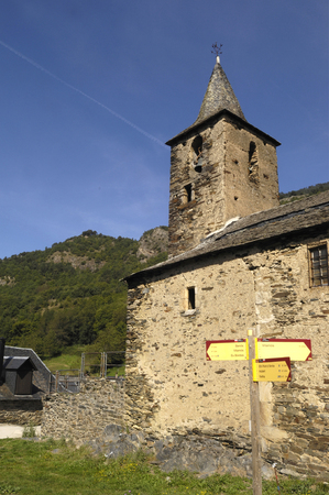Romanesque church of Sant Roc in Begos, Aran Valley, Lleida province, pyrenees mountain, Spain