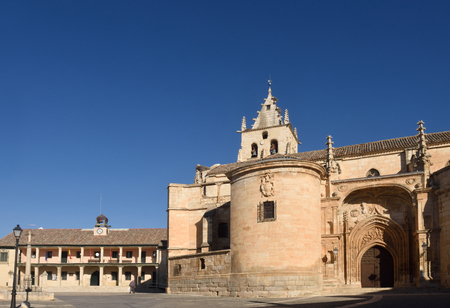 Main square and Magdalena church, Torrelaguna, Madrid province, Spain